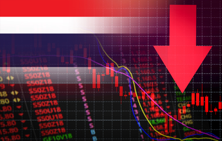 Thailand Stock Exchange market crisis red market price down chart fall  Stock analysis or forex charts graph Business and finance money crisis red negative drop in sales economic fall Stok Fotoğraf