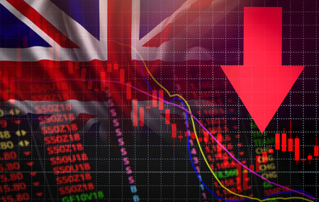 UK. London Stock Exchange market crisis red market price down chart fall / Stock analysis or forex charts graph Business and finance money crisis background red negative drop in sales economic fall