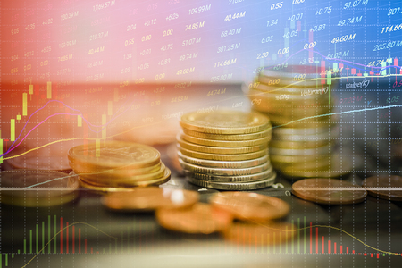 stock forex trading gold coin investment - business graph charts of financial board display stock future trading candlestick chart financial double exposure growing saving money finance marketing Stock Photo - 115053159