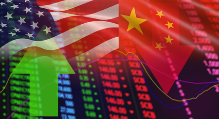 USA America and China flag arrows Stock exchange market analysis / Stock crisis red price chart fall and green up profits growth / indicator of changes graph chart business finance money  investment