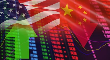 Frecce di bandiera USA America e Cina Analisi del mercato azionario / Grafico dei prezzi rosso crisi azionaria caduta e crescita dei profitti verdi / indicatore di cambiamenti grafico grafico finanza aziendale investimento di denaro