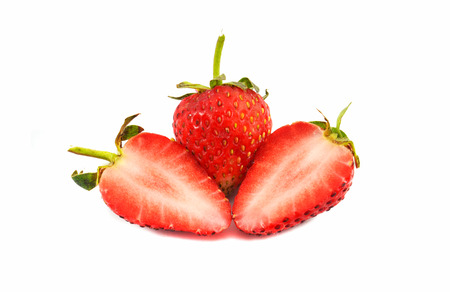 Fresh Strawberries isolated  ripe strawberry slice half and harvest from the organic garden fruit on basket isolated on white background