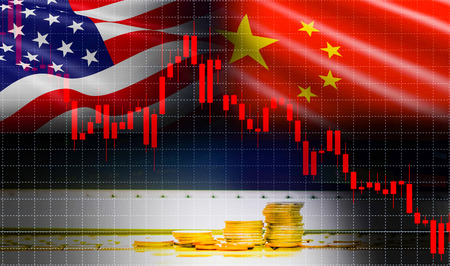 Trade war economy USA America and China flag candlestick graph Stock market exchange analysis / indicator Trading graph chart business finance money investment with gold coin