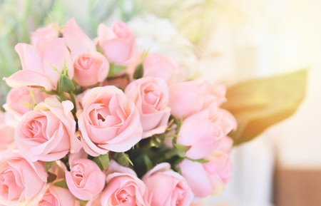 pink rose flower / soft and light pink roses blooming spring bouquet on table blur background 免版税图像