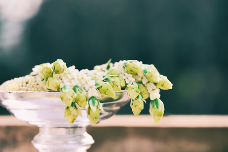 Garland jasmine flower beautiful on phan - tradition garland thai for mother day or wedding flower bunch Stock Photo