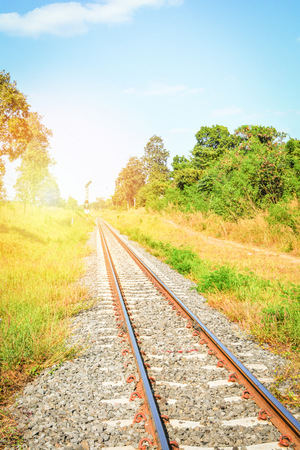 Railway - railroad tracks steel for trains in countryside on nature summer background