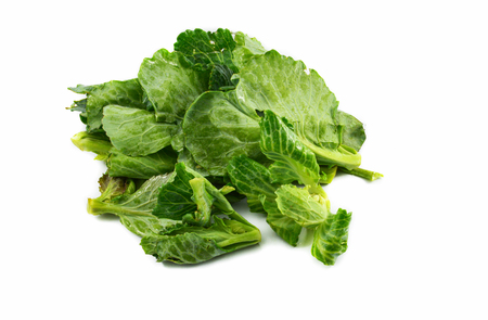 Fresh green leaves cabbage isolated on white background  Organic vegetable