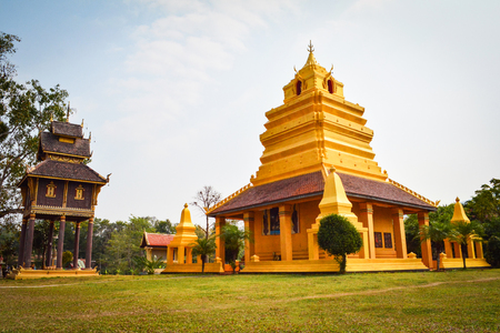 Golden pagoda old temple in Thailand / The story ancient temple of is over 400 years old landmark of buddhist - Wat Sri Pho Chai at Na Haeo Loei Thailand - naheaw 免版税图像
