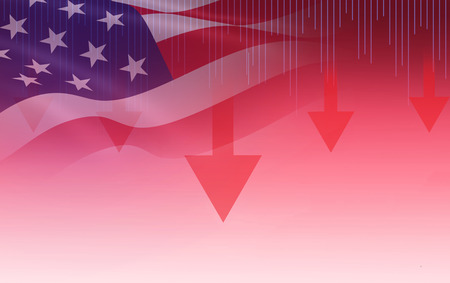 USA. America stock market crisis red price arrow down chart fall / New york Stock Exchange analysis or forex graph business finance money crisis losing moving investment loss and America usa flag