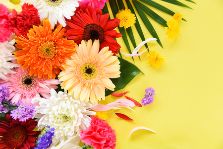 Fresh spring summer flowers frame composition tropical plant gerbera chrysanthemum colorful flower various and green leaves on yellow background beautiful - Flat lay Top view with copy space