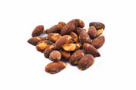 Almonds nut seeds bake salt isolated on white background