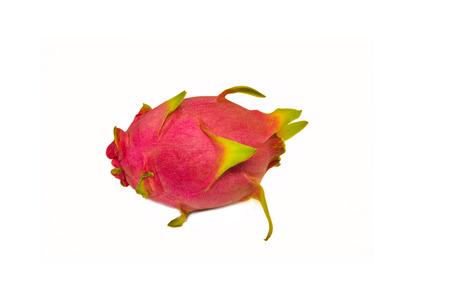 fresh dragon fruit isolated on white background / red pitaya tropical fruit