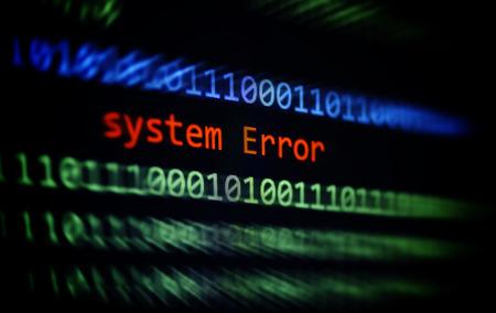 Technologie-Binärcode-Datenwarnung Systemfehlermeldung auf dem Bildschirm / Computernetzwerkproblemfehler-Softwarekonzept - selektiver Fokus