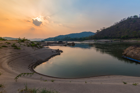 Sand beach and sunset on mekong river asian lanscape