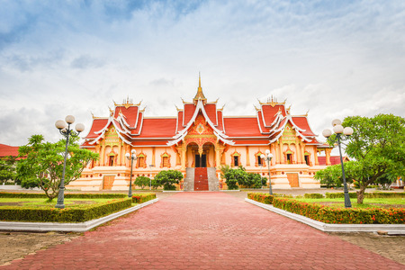 Vientiane Laos : Landmark laos temple beautiful of buddhism in asia