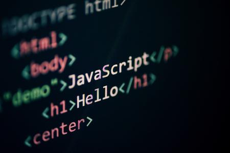 Computer language programming Javascript code internet text editor components on on display screen Reklamní fotografie