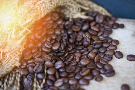 coffee beans in sack on wooden background