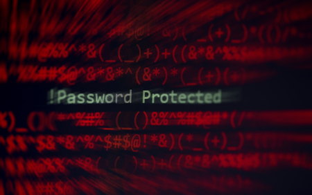 Password security cyber thief protection verification data system alert ! password protected on display screen hacking on computer