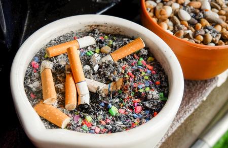 ashtray ceramic with cigarette stub