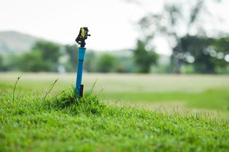 springer water garden green grass meadow with field golf court background Stock Photo