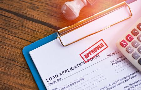 Zatwierdzenie pożyczki / formularz wniosku o pożyczkę finansową dla pożyczkodawcy i pożyczkobiorcy na pomoc w koncepcji nieruchomości banku inwestycyjnego