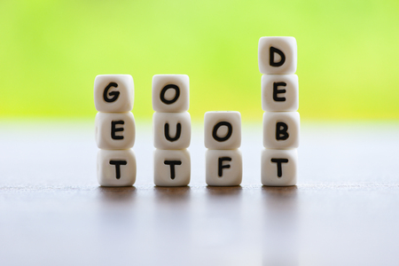get out of debt concept / Increased liabilities from exemption debt consolidation of financial crisis and problems risk business management loan interest
