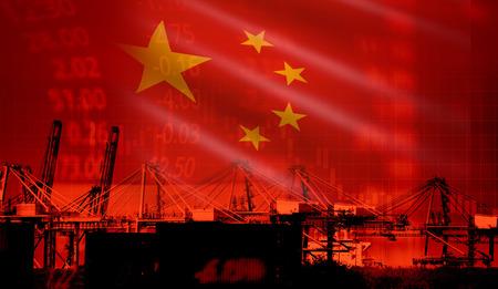 China Handelskrieg Wirtschaft Konflikt Steuer Unternehmensfinanzierung / China Börse Diagramm Geldkrise erhöhte Steuern auf Industriecontainerschiffe in der Export-Import-Logistik Standard-Bild