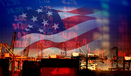 USA America trade war economy conflict tax business finance / united states stock market exchange graph chart money crisis raised taxes on industry container ship in export import logistics