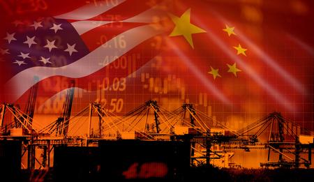 VS en China handelsoorlog economie conflict belasting zakelijke financiën geld / Verenigde Staten verhoogde belastingen op invoer van goederen uit China op industrieel containerschip in export en import logistieke achtergrond