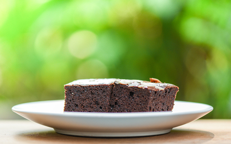 brownies cake on the table / chocolate cake slice with nut on wooden and nature green background Stok Fotoğraf - 122758167