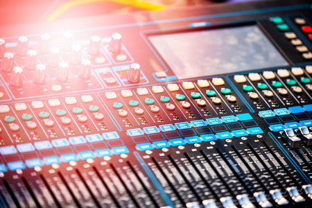 Professional audio mix sound control panel console / Sound technician and lights equipment Standard-Bild