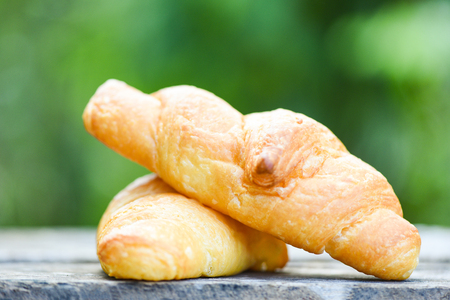 freshly baked croissants  Bakery bread on wood table homemade breakfast food concept