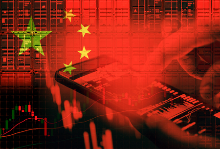 China stock market / Shanghai stock exchange crisis economy and Trade war - Businessman use smartphone in hand trading online and container ship in export and import business and logistics