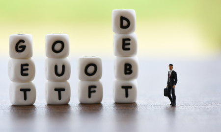 get out of debt concept  Increased liabilities from exemption debt consolidation of financial crisis and problems risk business management loan interest Stock Photo