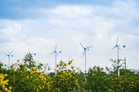 wind turbine landscape natural energy green Eco power concept at wind turbines farm blue sky background Standard-Bild - 124848367