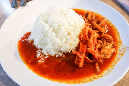 squid rings stir fried curry with cooked rice on white plate - asian food 写真素材