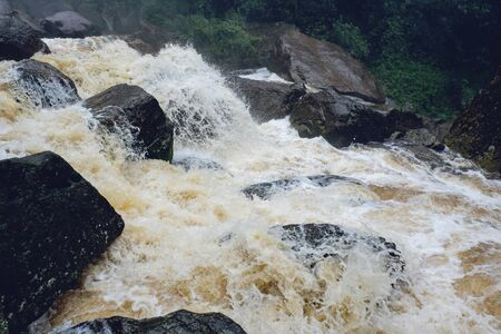 Water flood on river after heavy rain rapids water flow copiously from mountain stream in the forest