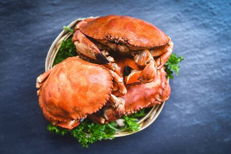 Cooked crab on steamer and dark background / Seafood boiled red stone crabs