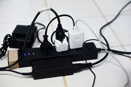 Power plug in full , power outlet multiple socket / overload charger extension cord cable connector