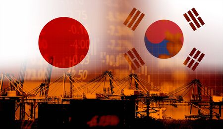 Japan and South Korea trade war white list economy conflict tax / Japan rally to declare a boycott South Korea goods export Controls technology business on ship in export and import products military