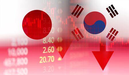 Guerra comercial de Japón y Corea del Sur lista blanca conflicto económico impuesto / Japón se moviliza para declarar un boicot Corea del Sur Controles de exportación de bienes tecnología negocio mercado de valores gráfico gráfico crisis