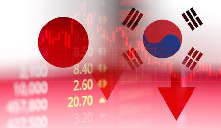 Japan and South Korea trade war white list economy conflict tax / Japan rally to declare a boycott South Korea goods export Controls technology business stock market graph chart crisis Banque d'images - 128029505