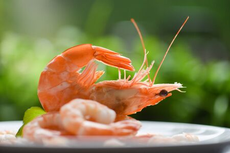 fresh shrimps served on plate  boiled peeled shrimp prawns cooked with green background in the seafood restaurant
