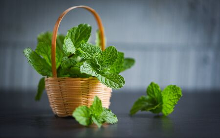 peppermint leaf in a basket  Fresh mint leaves on dark background