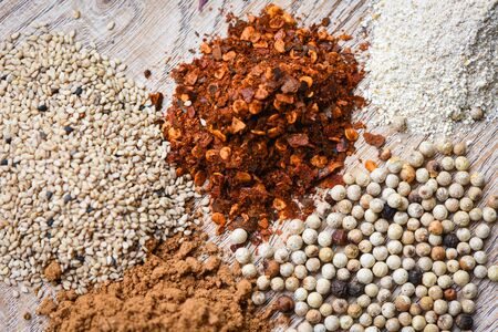 spices background and peppermint leaf  close up of herbs and spices mix sesame cayenne pepper seed paprika chilli powder ingredient asian food