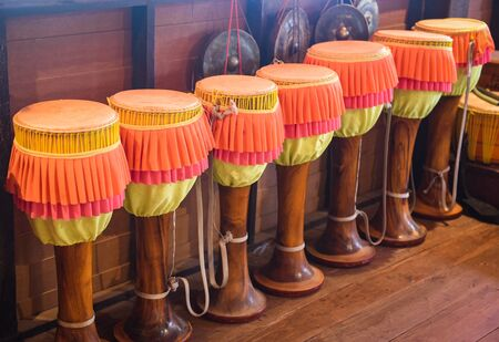 Long drums Thai music use as a device to create music Traditional  tall narrow drum made with animal skin
