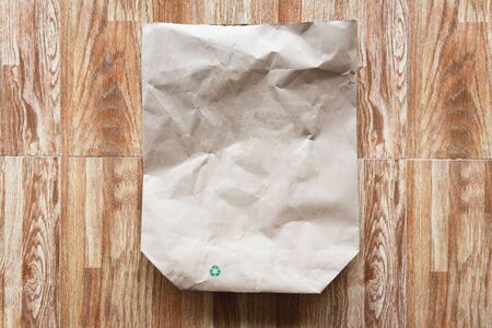 brown paper bag recycle background  Reduce environmental zero waste concept shopping with bag paper