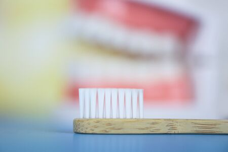 Bamboo toothbrush and dentist tools with dentures dentistry instruments and dental hygienist checkup brush teeth concept with teeth model background Stock Photo
