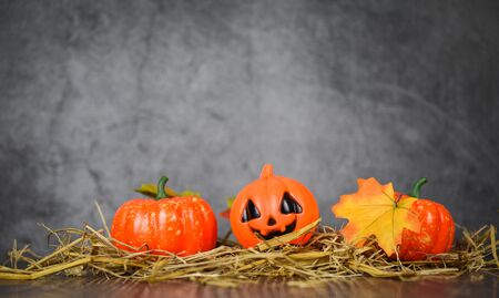 halloween background decorated holidays festive concept / jack o lantern pumpkin halloween decorations with leaves autumn on straw and dark background for party accessories object