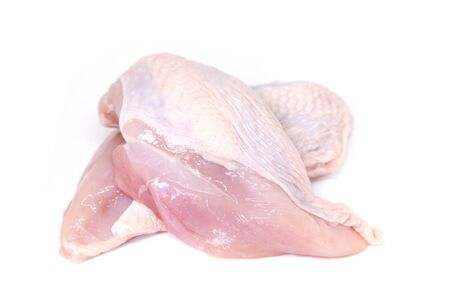 chicken breast isolated on white background / Raw uncooked chicken meat marinated with ingredients for cooking food